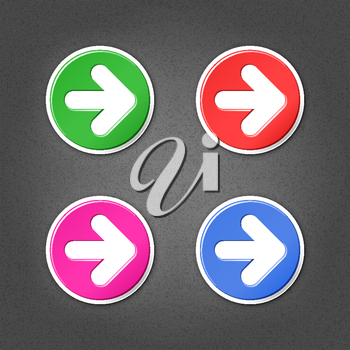 4 colored arrow sign round stickers. Smooth green, red, purple, cobalt internet web button with drop shadow on gray background with noise effect