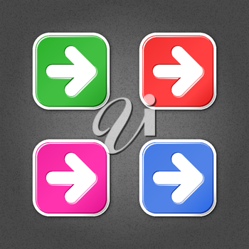 4 colored arrow sign square stickers. Smooth green, red, purple, cobalt internet web button with drop shadow on gray background with noise effect
