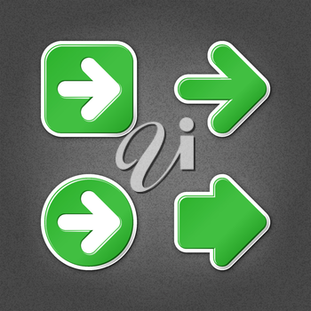 4 green sticker arrow sign web icon. Smooth internet button with drop shadow on gray background with noise effect