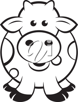 Royalty Free Clipart Image of a Cow Outline