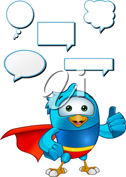 Royalty Free Clipart Image of a Caped Bluebird With Speech Bubbles