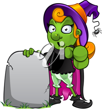 Royalty Free Clipart Image of a Witch at a Tombstone