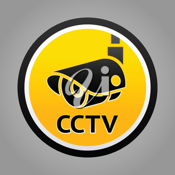 Surveillance camera warning sign. Vector design element