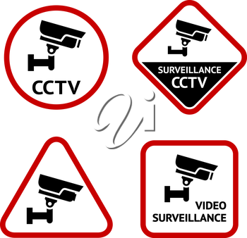 Video surveillance, set sticky labels, vector illustration