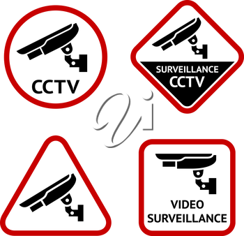 Security camera, stickers, vector illustration