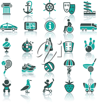 Set icons. Vacation, Tourism & Recreation. Travel, Sports. With reflection