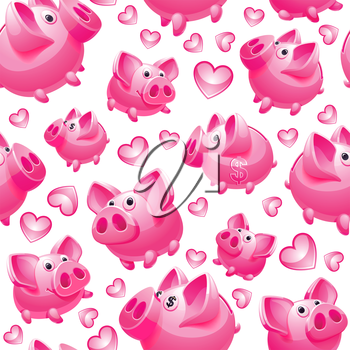 Piggy Bank on white background, seamless, wrapping paper