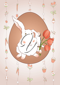 Rabbit with tulips on beautiful vector background