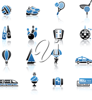 Recreation, Vacation & Travel, icons set.
