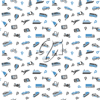 Seamless background, transport icons, wallpaper. 10eps