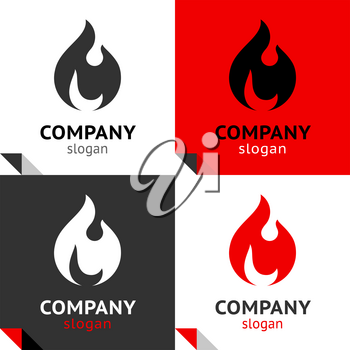 Fire flames, new set four variants for your logo