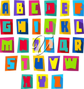 New font, cut colorful letters on a colored paper sheets with shadow, uppercase