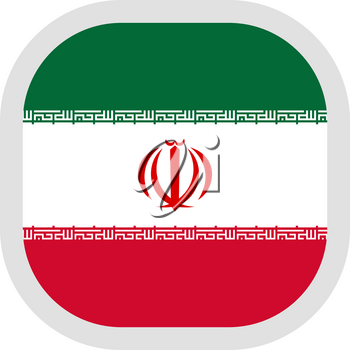 Flag of Iran. Rounded square icon on white background, vector illustration.