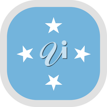 Flag of Micronesia. Rounded square icon on white background, vector illustration.