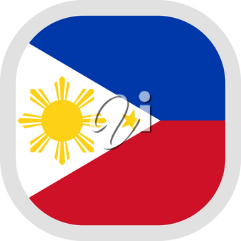 Flag of Philippines. Rounded square icon on white background, vector illustration.