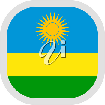 Flag of Rwanda. Rounded square icon on white background, vector illustration.