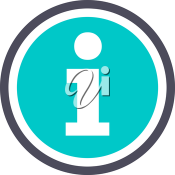 Information, gray turquoise icon on a white background