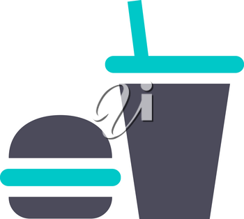 fast food icon, gray turquoise icon on a white background