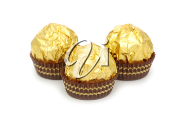 Chocolate candy isolated on a white