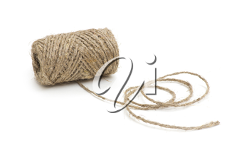 Ball of gray yarn isolated on white background