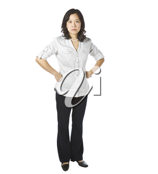 Asian women expressing anger in business causal clothing on white background