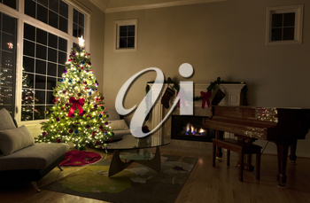 Christmas spirit in living room of home during a dark night