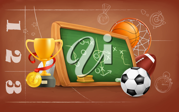 School, game and strategy, vector background