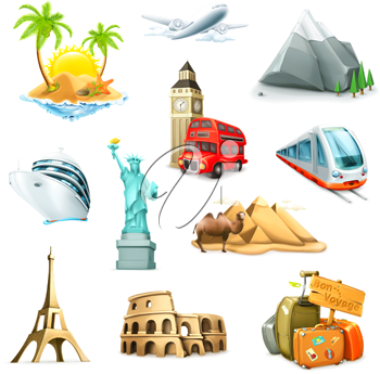 Royalty Free Clipart Image of Travel and Vacation Icons