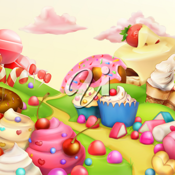 Sweet landscape vector background