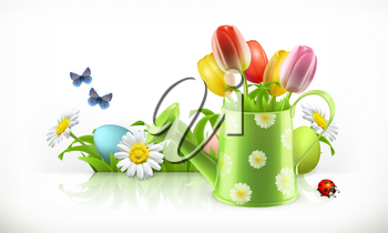 Watering can and spring flowers 3d vector banner