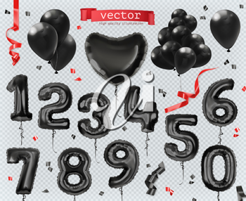 Toy balloons. Black Friday, shopping. 3d set of vector icons