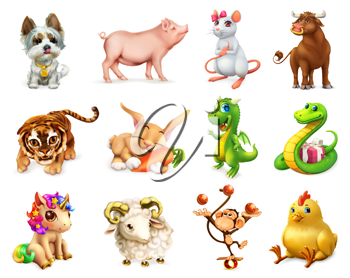 Dog, Pig, Rat, Ox, Tiger, Rabbit, Dragon, Snake, Horse, Goat, Monkey, Rooster. Funny animal in the Chinese zodiac, Chinese calendar. 3d vector icon set