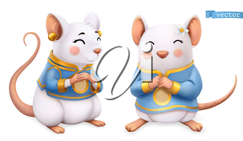 Rat, mouse, Funny animal in the Chinese zodiac, Chinese calendar, 3d vector icon
