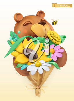 Funny bear with bouquet of wildflowers. 3d vector plasticine art object