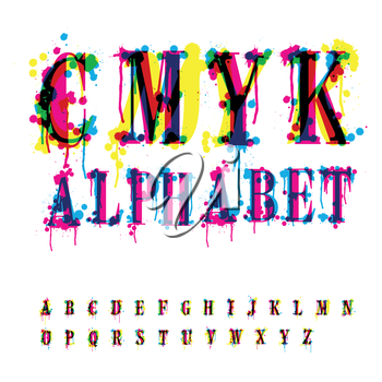 CMYk alphabet. Composition from unrecognized different letters and drops and streaks. Contains three separate layers, easily edit and mix colors.