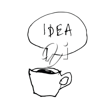 Coffee cup symbol with idea word in speech bubble. Hand-drawn illustration