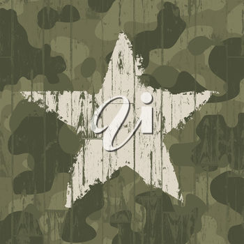 Military camouflage background with star. Vector, EPS10.
