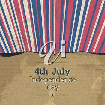Retro 4th july poster with rays. Vector, EPS10