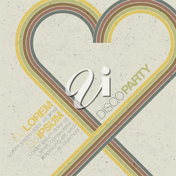 Vintage disco party invitation with heart shaped lines. Abstract flyer design, vector, EPS10