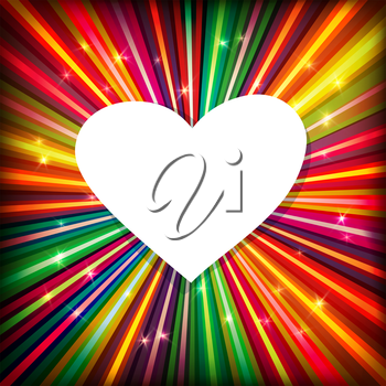 Abstract background with colorful rays and heart shaped space for text. Vector, EPS10