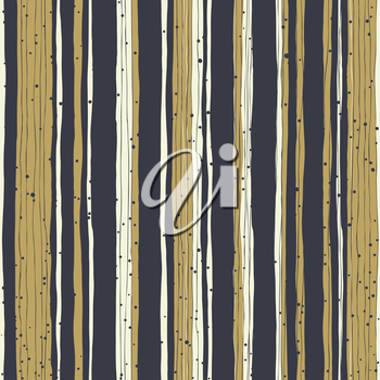 Golden stripes and black lines with chaotic dots. Seamless hand-drawn vector pattern