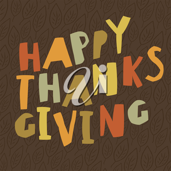 Happy Thanksgiving design. For holiday greeting cards designs. Simple and colorful