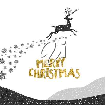 Merry Christmas postcard. Christmas typography glitter gold. Deer silhouette. Falling Snow.