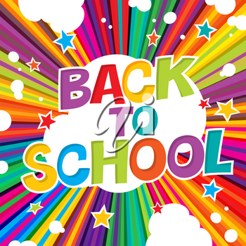 Back to school. Colorful poster with rays and stars. Comic alphabet.