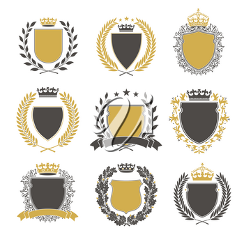 Collection of the Different black and gold silhouette shields, wreaths and crowns depicting an award, achievement, heraldry, nobility.