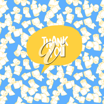 Toilet paper with text Thank You. Vector background