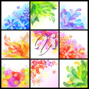 Set of 9 decorative abstract floral backgrounds