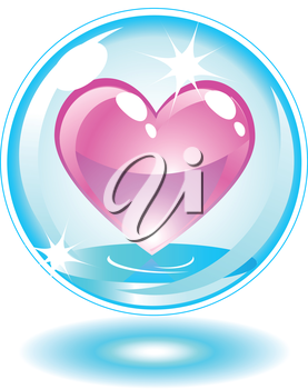 Pink heart in a bubble