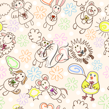 Childe drawing seamless pattern with cute aimals and angel