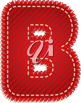 Letter B from red textile alphabet